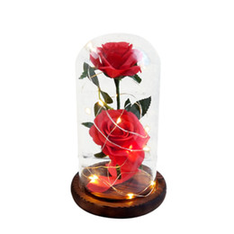 Flores artificiais luminosas on-line-Fita LED piscando Luminous Rose Artificial Valentine romântico do casamento Decoração da flor \ 's Day Gift para o amante Birthday1