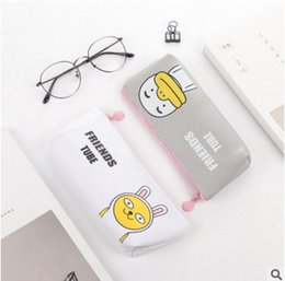 trapezoid box Coupons - Korean Pen Bag Simple Girl Cartoon My Friend PU Inverted Trapezoid Pen Bag Pencil Box Large Capacity Stationery