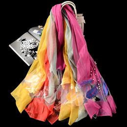 Bordado de seda de organza on-line-Hot New 180 * 70 cm senhoras organza jacquard bordado cachecol lenço de seda protetor solar toalha de praia xale WCW341