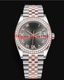 оберточная черная кожа Скидка 6 Стиль Новая модель 126281RBR 126281 116244 Oyster Perpetual 36mm Двухцветная рамка из 18-каратного розового золота с бриллиантом Автоматические мужские часы Наручные часы