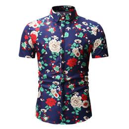 Erkek Casual Gömlek Kısa Kollu Gömlek Çiçek Gömlek Yaz Slim Fit Tops Tees Büyük Boy Giyim M-2XL 3XL Moda supplier large fit nereden büyük uyum tedarikçiler