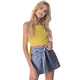belted pencil skirt Promo Codes - Faldas Mujer Moda 2019 Women High Waist Ruffles Striped Skirt Sexy Slim Short Pencil Skirts Bow Tied Mini Skirt With Bow Belt