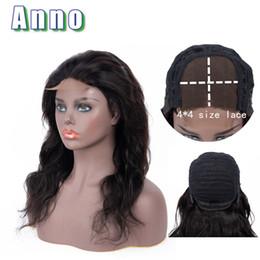 2019 peluca delantera de encaje 4x4 Annowig 4x4 Tamaño de encaje Frente Cuerpo Onda Pelucas de cabello humano de 10