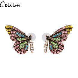 kristall design nägel Rabatt Original neue Farbe Vollglas Schmetterling Flügel Bolzen Ohrring Nagel mit einfachen Temperament Kristall Ohrringe 2019 neue exklusive Design Schmuck