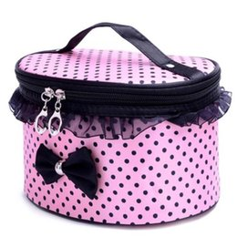 кружевная косметика Скидка New cosmetic bag bow lace cosmetic bag zipper travel storage box cosmetics Trousse de toilette storage D13d