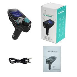 voiture t11 Promotion T11 Bluetooth voiture sans fil lecteur mp3 kit voiture mains libres transmetteur FM A2DP 5V 2.1A chargeur USB affichage à cristaux liquides de voiture modulateur FM