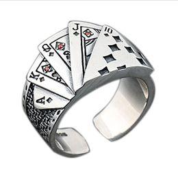 Casinos de poker on-line-Legal dos homens de Prata Ás de Aço Inoxidável Casino Casino Card Game Sorte Aberto Anel Ajustável Jóias