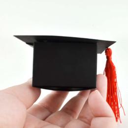 Boîtes de bonbons de graduation en Ligne-5pcs / lot Docteur Chapeau Chapeau Noir Papier Boîte De Bonbons En Papier Gland Graduation Célébration Décoration Faveur Boîtes Partie Sac D'emballage Boîte