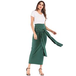 Повседневная мусульманские юбки для женщин высокая талия молния бинты юбки партии мода элегантный Midi Dress женский 2019 Весна Clothing от Поставщики xl мусульманская женская одежда