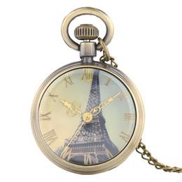 2019 reloj paris eiffel Reloj de bolsillo de cuarzo vintage Retro Paris Torre Eiffel Dial Collar delgado Cadena Mujeres Damas Reloj colgante Mejores regalos reloj paris eiffel baratos