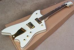 Guitare électrique de forme spéciale G6199, corps blanc, bordure en poudre dorée, bord en corde doré, incrustation spéciale, personnalisable ? partir de fabricateur