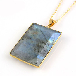 popular necklace styles Promo Codes - 12 Pcs Vintage Natural Labradorite Gemstone Pendants 18K Gold Plated Europe popular Style Pendant Jewelry