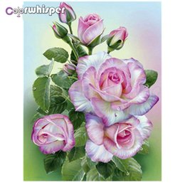 Diamante 5d diamante fiore rotondo online-Diamante Pittura 5D Full Square / Punta rotonda Rosa Fiori Rosa 3d DIY Daimond Pittura Immagine Ricamo Punto Croce Z158