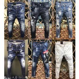 2019 passendes hosendesign für männer Italien Design Jeans Herren Cool Guy Fit Distressed Painted Effect Cowboy Hose Slim Fit Bein Euro Größe 48-54 günstig passendes hosendesign für männer
