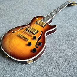 Vente chaude guitare électrique à corps creux avec 6 cordes et incrustations de coque ? partir de fabricateur