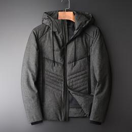 52af12a7fd48 Minglu nero grigio anatra giubbotto da uomo di lusso aggiungere spesso  antivento caldo giacca con cappuccio da uomo e cappotti Slim Fit Feather  Mens add ...