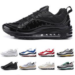 самая новая повседневная обувь для мужчин Скидка nike Air Max 98 shoes Designer Men Running Shoes Gundam Triple Black White Cone Tour Yellow Red Newest Mens Casual Sports Trainers Sneakers eur 40-46