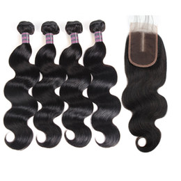 brazilian wet wavy hair Promo Codes - Indian Water Wave Human Hair Bundles With Closure Peruvian Wet and Wavy Hair 4 Bundles Malaysian Body Wave Deep Loose Hair Extensions