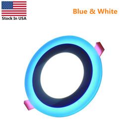 Panel led azul online-EEUU Stock panel llevada ligero redondo de doble color (luz blanca fría + azul) ultrafino llevó la iluminación empotrada para cocina, sala de estar