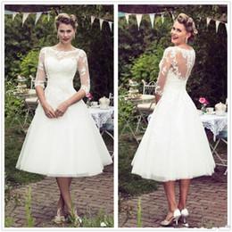 pequenos vestidos de noiva marfim Desconto Grande 1920 Vintage Lace Vestidos de Noiva 1/2 Mangas Compridas Tule Rendas Applique Chá Comprimento A Linha Do Casamento Vestidos de Noiva robes de mariée