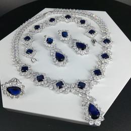 conjunto de jóias de aço inoxidável de urso Desconto Nova moda retro colar de zircão azul gota de água brinco frete grátis pulseira anel de casamento da noiva jantar festa de jóias vestido