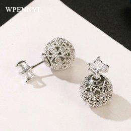 small stud design Coupons - Brand Design Small Crystal Ball Earring White Gold Color 925 Sterling Silver Needle Round Double Side Wear Stud Earrings Wholesale