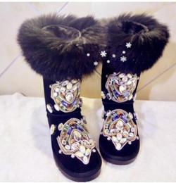 Les cristal on-line-Strass Botas de Neve De Pele De Camurça De Couro Les Bottes Femme Cristal Meados de Bezerro Botas De Lã Não-Slip Sapatos de Inverno Mulher