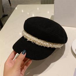 2019 headwear messicano tappi di lusso progettista donne dell'esercito con decorazioni di perle nera tutti i match di velluto a coste cappelli della donna della signora regalo di natale di compleanno