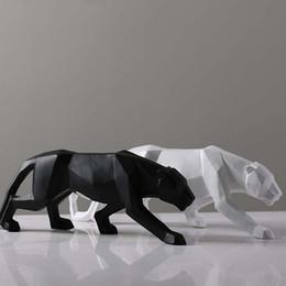esculturas modernas Rebajas Creativo Moderno Abstracto Negro Pantera Escultura Geométrica Resina Leopardo Estatua Decoración de Vida Silvestre Regalo Artesanía Ornamento Accesorios Muebles