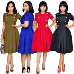 Rotes peter pankragenkleid online-Office Lady Style Regular Plissee Kleid Sommer Peter Pan Kragen Kurzarm Solid Dress Zweireiher Empire XXL Red Dress