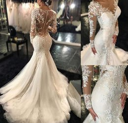 Manches longues Robes De Mariée Sexy V Cou Dentelle Broderie Appliques Tulle Sirène Robes De Mariée 2019 Nouvelle Arrivée ? partir de fabricateur