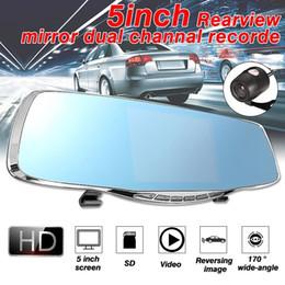 Новая камера с двумя камерами онлайн-Новое зеркало заднего вида двухканальный рекордер 5 дюймов 1080P Dual Car Dash Camera Ночная версия 5-дюймовый HD 1080P Автомобильный видеорегистратор 170 градусов