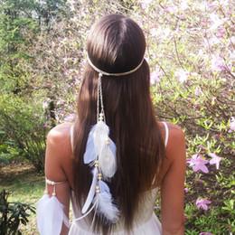 Canada Glands de plumes de bohème blanc bandeau bandeaux gypsy hippie paon cheveux accessoires cheap hippie accessories Offre