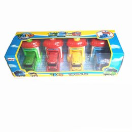 bus jouet vert Promotion Coréen Le Petit Parking 4 Rouge Vert Bleu Jaune Tayo Modèle De Bus Garage Jouet Oyuncak Araba Pour Garçons Cadeau De Noël Q190604