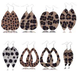 2019 aros indianos Leopard Print Gota De Água De Pelúcia Brincos De Couro Boho Feminino Oco Out Teardrop Dangle Charme Pingente de Gancho Brinco Para As Mulheres Presentes de casamento