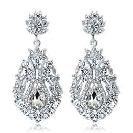 Orecchini a cristallo di diamanti del teardrop del rhinestone online-Orecchini pendenti lunghi di cristallo di colore argento orecchini bella strass teardrop gioielli da sposa partito nuziale per le donne