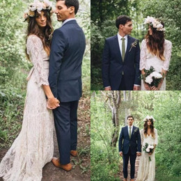 c8510300eb Vintage Bohemian Long Sleeve Lace Wedding Dresses 2018 Deep V-neck Beach  Boho Cheap Maxi Crochet Lace Wedding Dress Plus Size Bridal Gowns