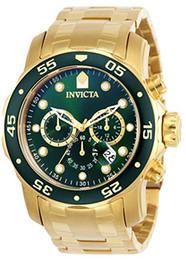 2019 зеленый дайвер смотреть Мужские хронографы Invicta Pro Diver Scuba 18-каратного позолоченные, зеленые 48 мм VD53, кварцевые часы с хронографом, новые