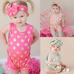 polka dot jumpsuit toddlers Coupons - baby girl romper with bow headbands 2pcs sets kids cotton gilded sleeveless polka dot jumpsuit one piece jumpsuit rompers toddler bodysuit