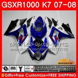 Carenado k7 azul online-Carrocería para SUZUKI GSXR-1000 GSXR1000 2007 2008 07 08 Bodys 12HC.11 GSX R1000 GSX-R1000 K7 GSXR 1000 azul blanco stock 07 08 ABS Carenado kit