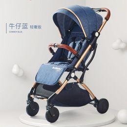 blaue wiege Rabatt Der Kinderwagen kann auf einem vierrädrigen Kinderwagen sitzen, der in einem leichten, tragbaren Babyklappschirmwagen abgelegt werden kann.