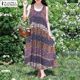 01e9467cfac2 Plus Size Summer Maxi Dress 2019 ZANZEA Women s Sundress Female Vintage  Print Long Vestido Plus Size Sleeveless Tank Robe Kaftan
