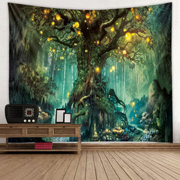 trees decor Promo Codes - 3D Psychedelic Forest Tapestry Fairy Garden Hippie Hanging Wall Decorative Livingroom Green Wishing Trees Wall Tapestry Decor