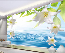fiber flow Promo Codes - 3d room wallpaper custom photo mural Flowing water affection lily living room TV background wall wallpaper for walls 3 d
