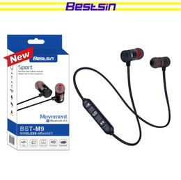 Bestsin Беспроводные Bluetooth наушники M9 Магнит беспроводные наушники Auriculares Bluetooth-гарнитура для сотового телефона Iphone X xiaomi спорт музыка от