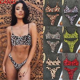 2019 красный бикини для женщин Sexy Women Leopard Bikini 2019 6 Color Swimsuit Bandage Bikini Set Red Yellow Gray Push Up Swimwear String Women's Swimming Suit дешево красный бикини для женщин