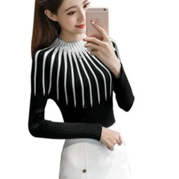 5b2ad0bb76c414 New Fashion Striped Sweater Long Sleeve 2018 Autumn Winter Knitted Sweaters  Women Pullover Basic Slim Casual Knitting Sweater