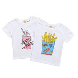 Helado de bebe online-Ropa de bebé Verano para bebés, niñas, niñas, camiseta, blanco, manga corta, camisetas, papas fritas, helado, algodón impreso, tops, camisetas, envío gratis 229