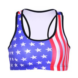 star bras Promo Codes - Women Sports Bra American Flag Star Stripe 3D Print Yoga Gym Fitness Runner Running Sportwear Bras Push Up Crop Tops Tank Vest (RSsb-0011)
