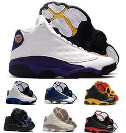 caixa biológica atacado Desconto Lakers 13 13 s sapatilhas de basquete das sapatilhas das mulheres dos homens 2019 novo melo oliva criado sílex sílex atmosfera e vestido de Chicago formadores cesta de sapatos de bola